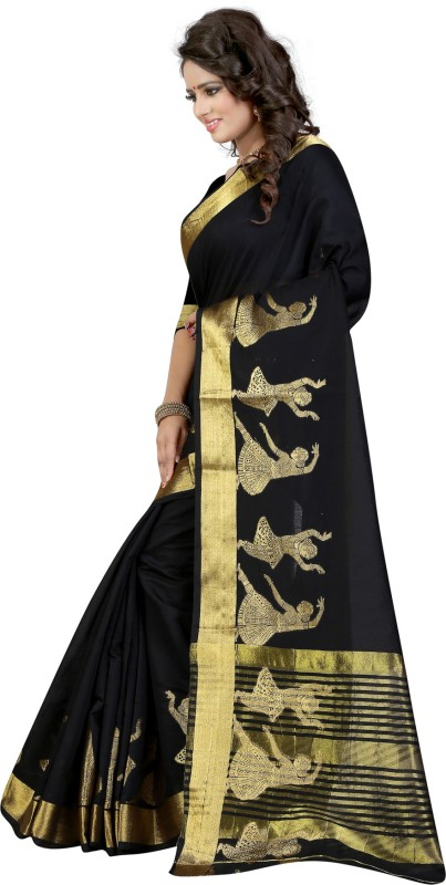 The Fashion Outlets Self Design, Solid Coimbatore Silk Cotton Blend, Jacquard Saree(Black)