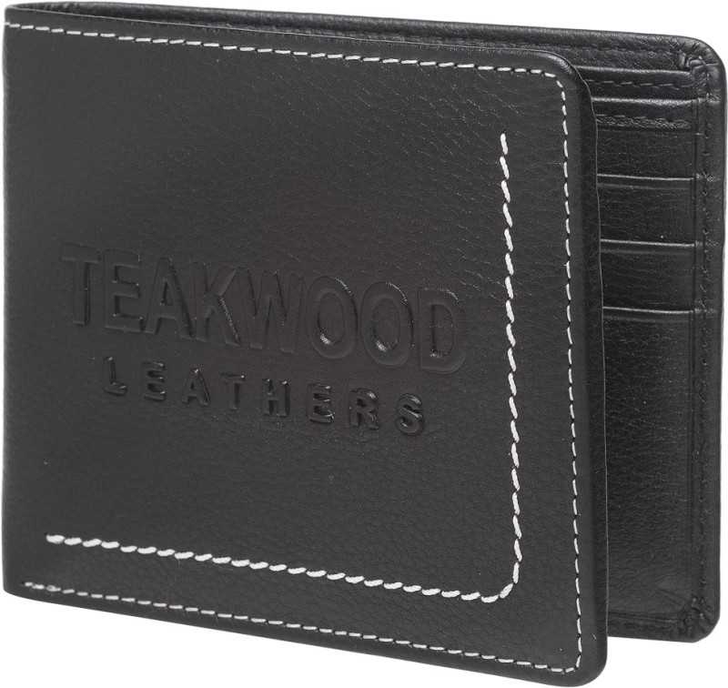 Teakwood Men Black Genuine Leather Wallet(9 Card Slots)