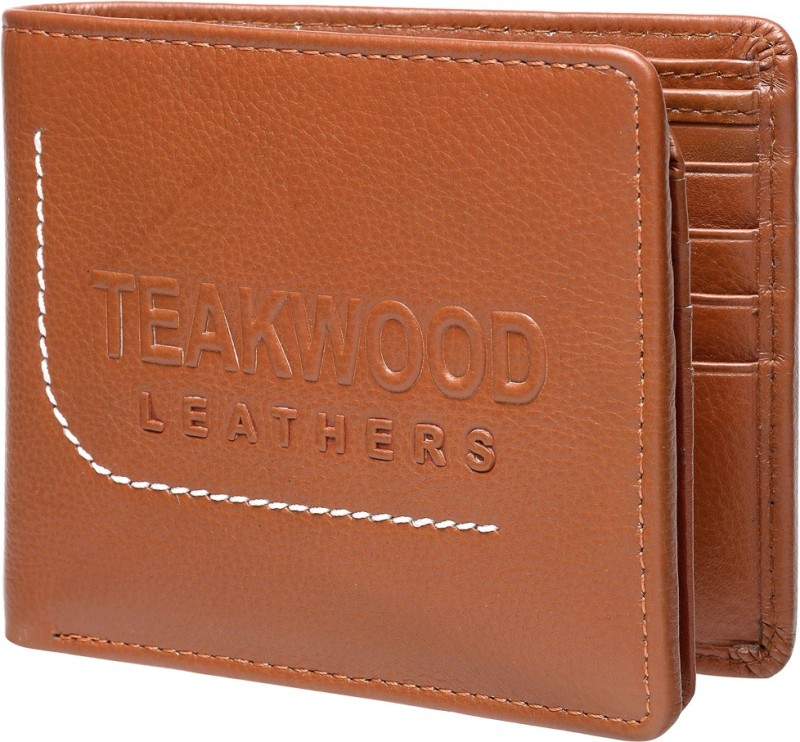 Teakwood Men Tan Genuine Leather Wallet(12 Card Slots)