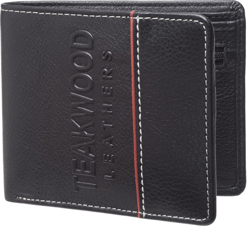 Teakwood Men Black Genuine Leather Wallet(6 Card Slots)