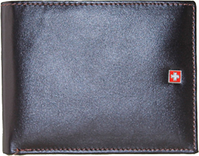 Swiss Military Men Brown Genuine Leather Wallet(11 Card Slots)