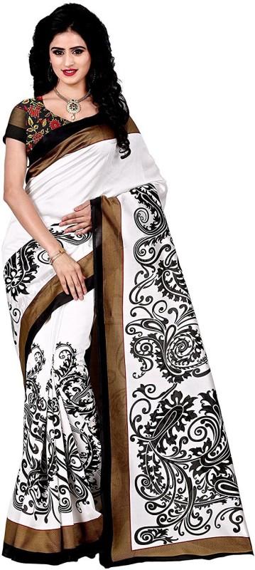 Trendz Style Paisley Bhagalpuri Cotton Linen Blend Saree(White, Black)