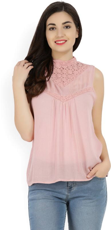 Vero Moda Casual Sleeveless Self Design Women Pink Top