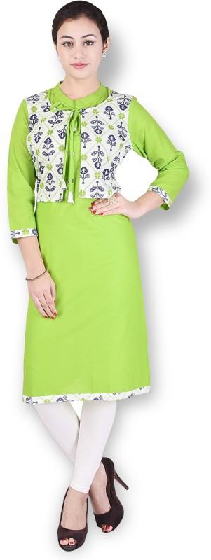 Crazora Women's Printed Straight Kurta(Green)