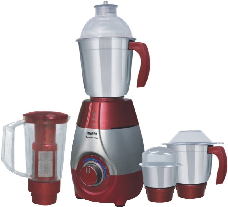 Inalsa Passion Plus 750 Mixer Grinder(Grey, Red, 4 Jars)