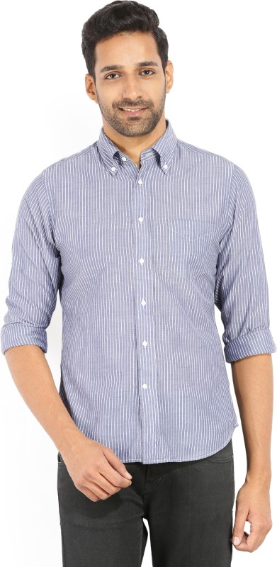 Gant Mens Striped Casual White, Blue Shirt