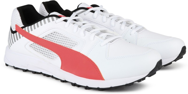Puma Team Rubber Cricket Shoes For Men(White)
