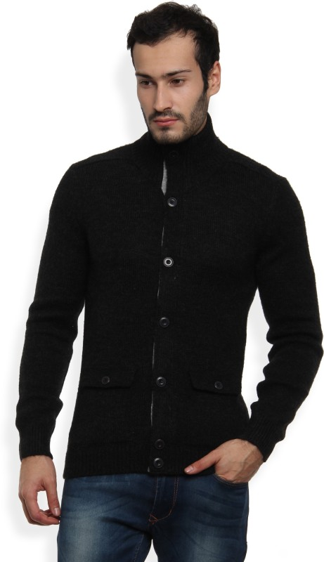 United Colors of Benetton Solid Turtle Neck Casual Mens Black Sweater
