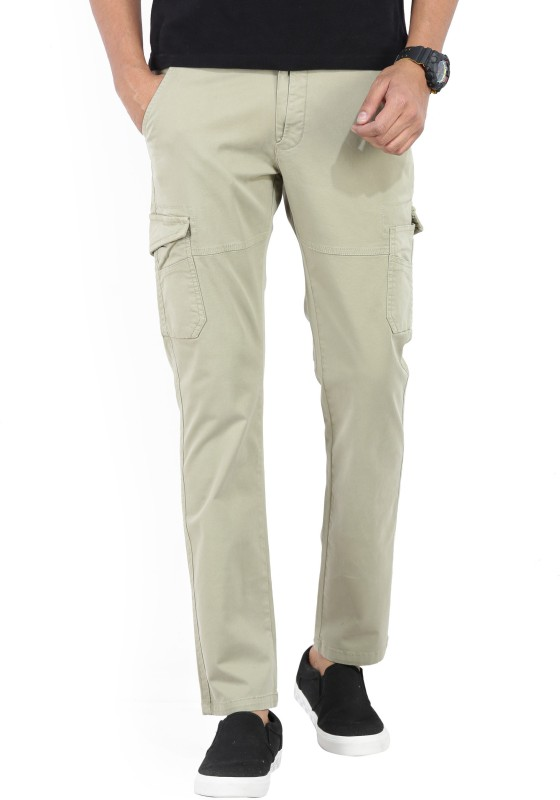 Spykar Slim Fit Mens Beige Trousers