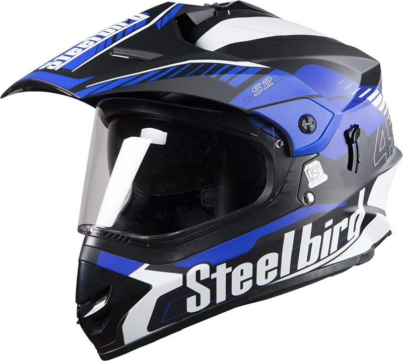 Steelbird Steel bird SB-42 bang Mat Black with Blue L Motorbike Helmet(Black with Blue)