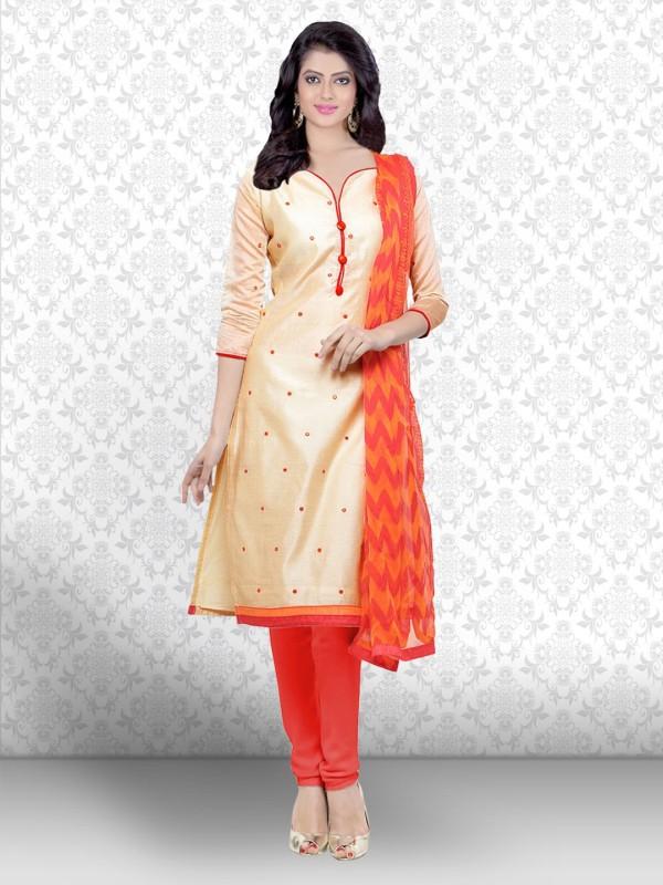 Divastri Chanderi Embroidered Salwar Suit Dupatta Material(Un-stitched)