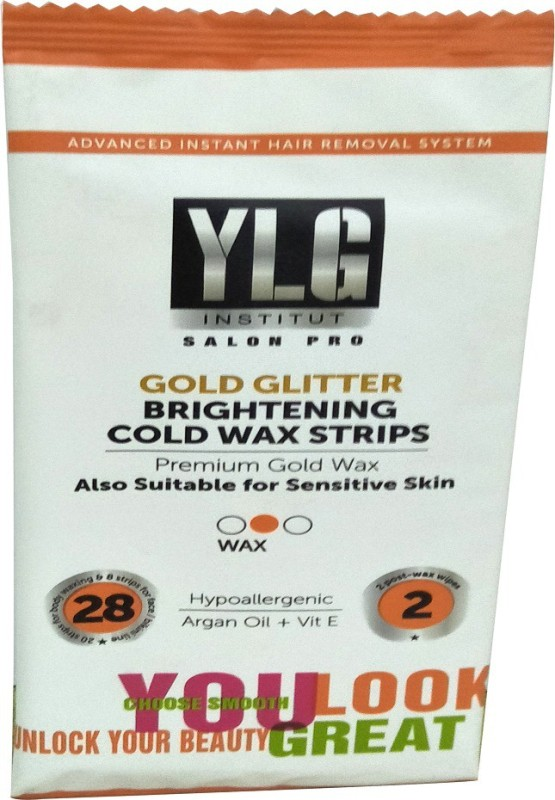 YLG Gold Glitter Brightening Cold Wax Strips Strips(30 Strips)