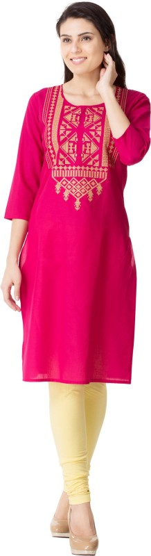 M&D Casual Embroidered Women's Kurti(Pink)