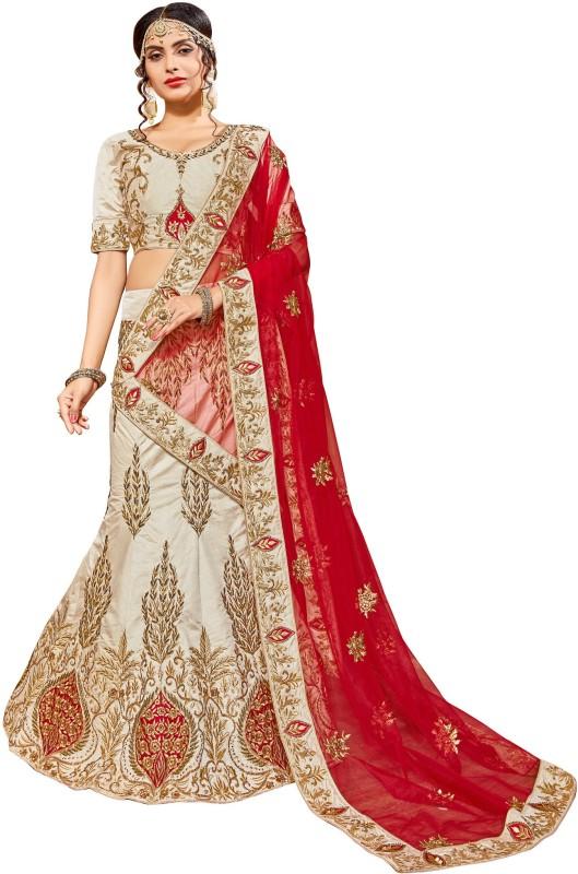 Aasvaa Embroidered Semi Stitched Lehenga Choli(Beige)