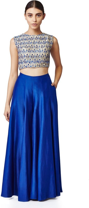 Fabron Solid Royal blue plain stitched lehenga with choli signifying rustling leaves...