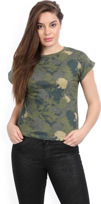 Wrangler Printed Women Round Neck Dark Green T-Shirt