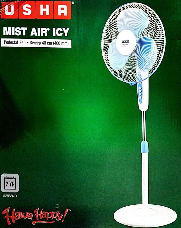 Usha MistAir ICY 400MM 3 Blade Pedestal Fan(white)