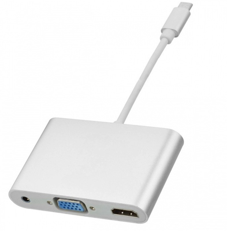 Axcess USB-C 3.1 Type C to HDMI Digital AV & VGA & 3.5mm Audio Adapter Lan Adapter(1000 Mbps)