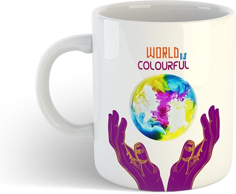iKraft Funny Quotes World is Colourful Beautiful Theme Printed CoffeeMug or Tea Cup 11oz Dishwasher and Microwave Safe Ceramic Mug(350 ml)