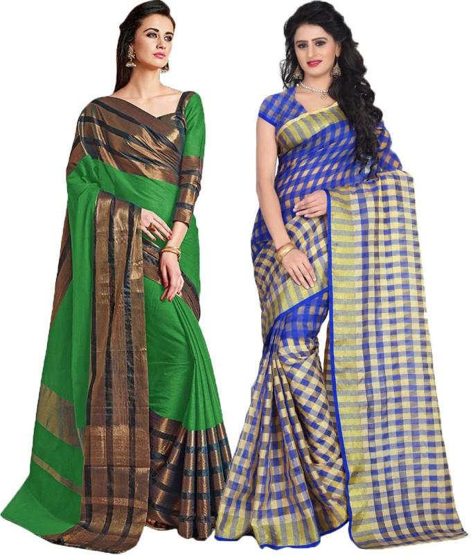 BAPS Checkered Bollywood Cotton Silk Saree(Pack of 2, Green, Blue)