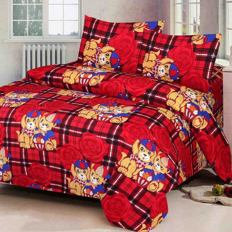 6f017ec6978 The Intellect Bazaar 160 TC Polyester Double Printed Bedsheet(1 double  bedsheet and 2 pillow