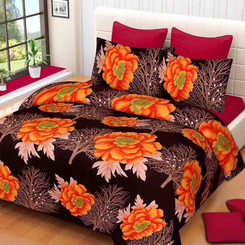 The Intellect Bazaar 160 TC Polyester Double Printed Bedsheet(1 double bedsheet and 2 pillow covers, Orange)