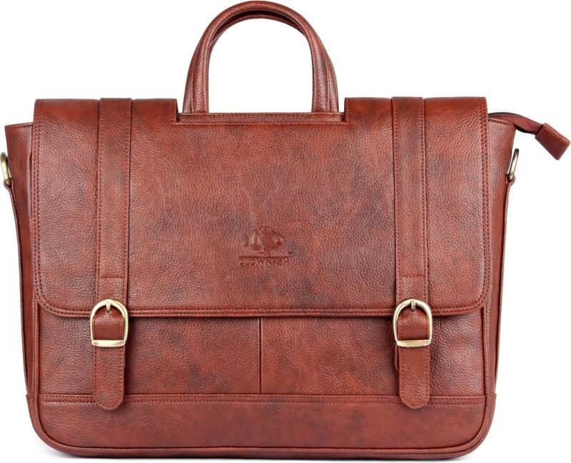 The Clownfish Urban series Medium Briefcase - For Men & Women(Cinnamon)