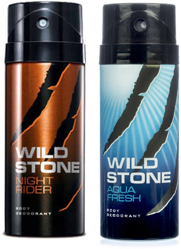 Wild Stone Night Rider and Aqua Fresh Deodorant Spray Pack of 2 Combo (150ML each) Deodorant Spray - For Men(300 ml, Pack of 2)