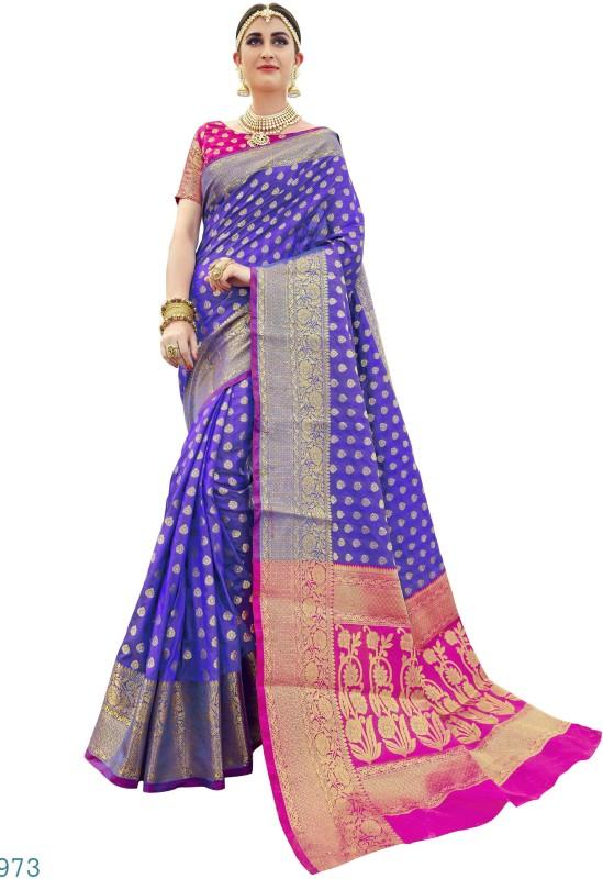 EthnicJunction Woven Banarasi Silk Saree(Blue)