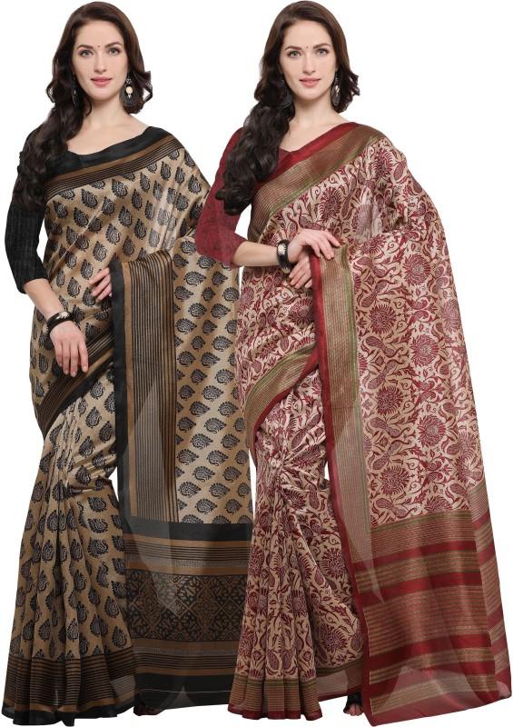 Rajnandini Printed Fashion Jute Saree(Pack of 2, Multicolor)