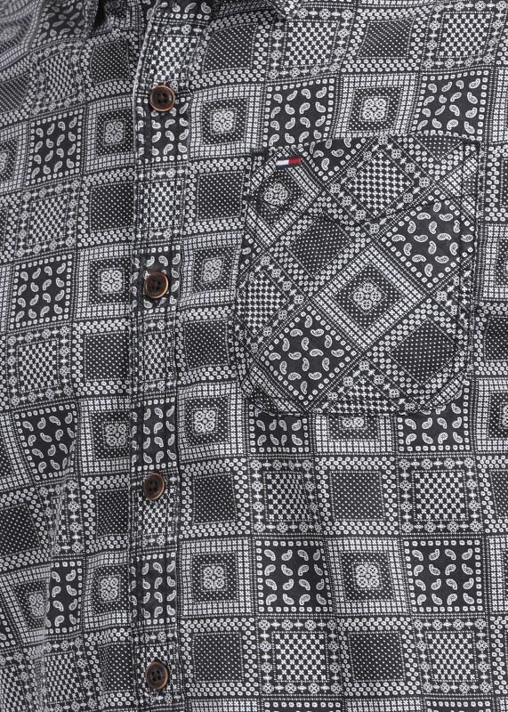 Tommy Hilfiger Mens Printed Casual Grey Shirt