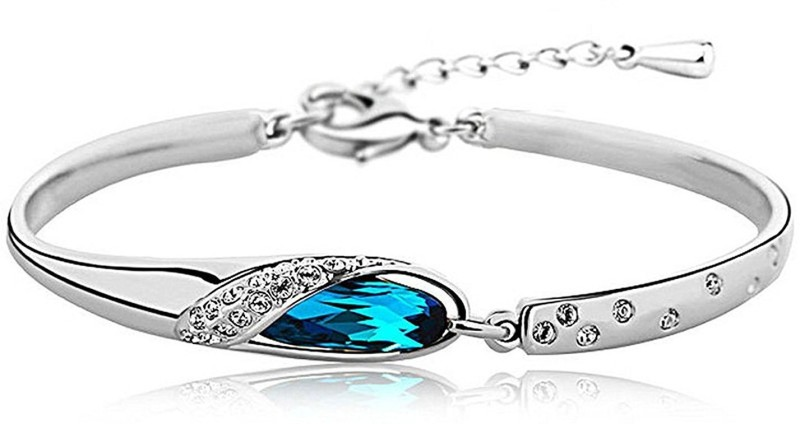 Addic Sterling Silver Crystal 18K White Gold Bracelet Set