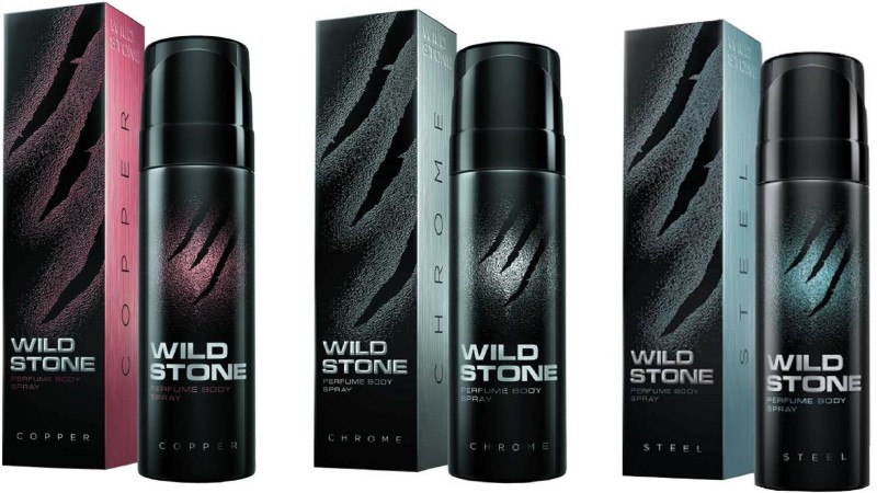 Wild Stone Code Copper, Code Chrome and Code Steel Perfume Body Spray Pack of 3 Combo (120ML each) Perfume Body Spray - For Men(360 ml, Pack of 3)