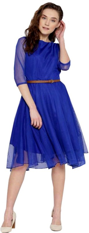 Dream Beauty Fashion Women Fit and Flare Blue Dress