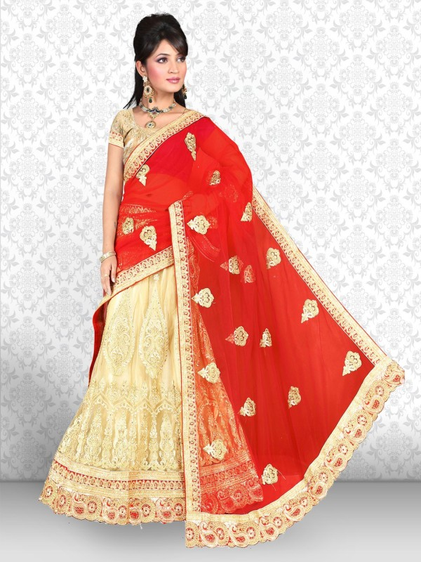 Manvaa Embroidered Lehenga, Choli and Dupatta Set(Beige, Red)