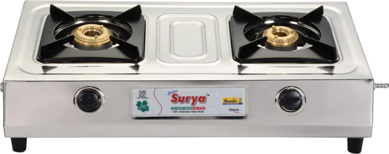 GOLDEN SURYA BGS-202-ELEGENT Stainless Steel Manual Gas Stove(2 Burners)