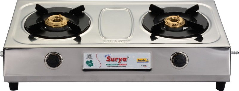 GOLDEN SURYA BGS-203-KRISTAL Stainless Steel Manual Gas Stove(2 Burners)