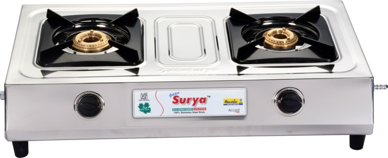 GOLDEN SURYA BGS- 207-ACCORD Stainless Steel Manual Gas Stove(2 Burners)