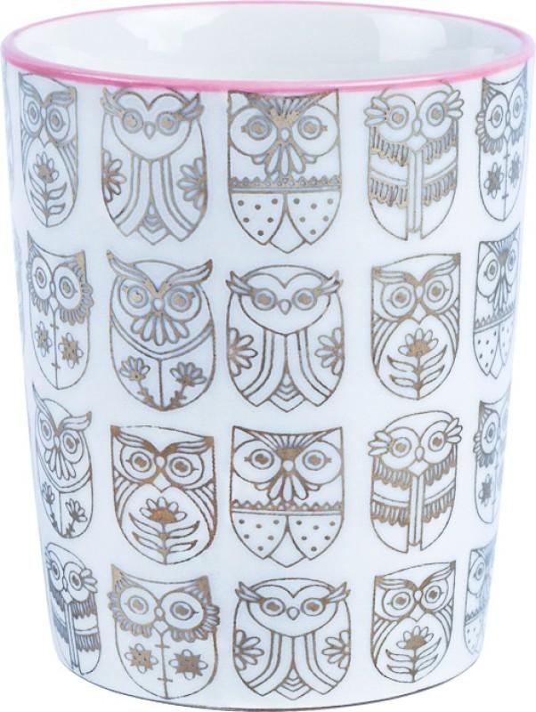 Chumbak Mini Flower Owl Glass(150 ml, White, Pack of 1)