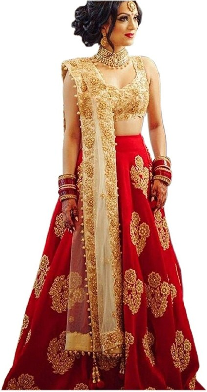 Shree impex Embroidered Semi Stitched Lehenga, Choli and Dupatta Set(Red)