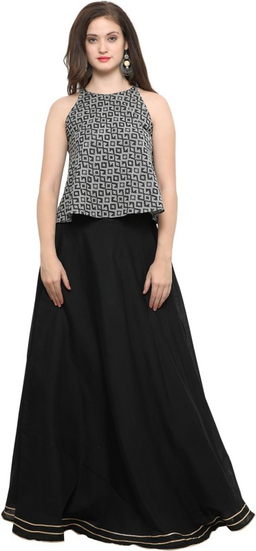 Inddus Printed Semi Stitched Lehenga & Crop Top(Black, Grey)