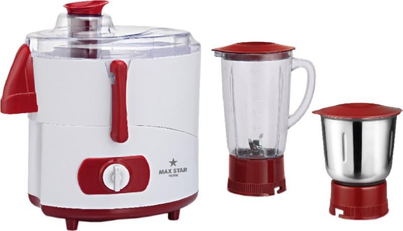 Maxstar JMG04 Victor 450 Juicer Mixer Grinder(Red, White, 2 Jars)