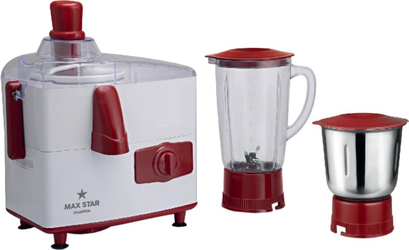 Maxstar JMG05 Champion 450 Juicer Mixer Grinder(Red, White, 2 Jars)