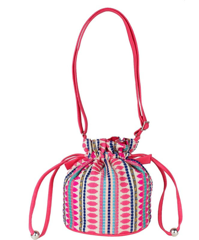 Tash Creations Sling Bag Potli(Pink)