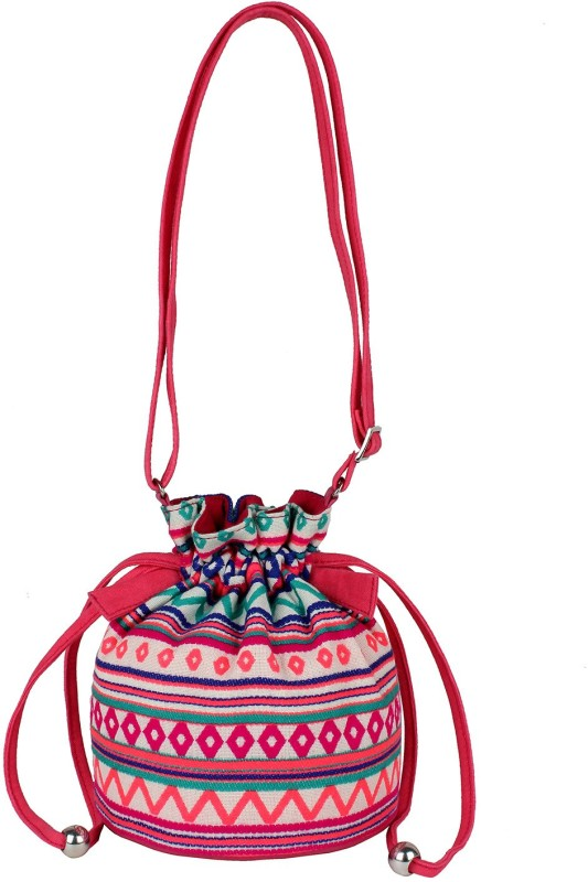 Tash Creations Sling Bag Potli(Pink, Orange)
