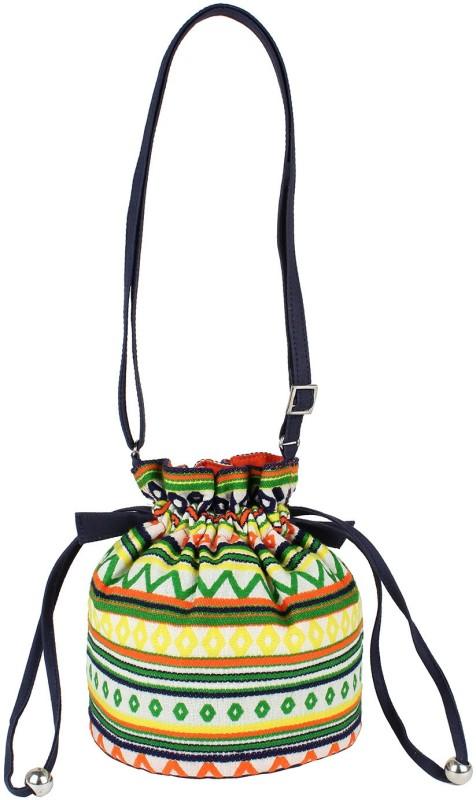 Tash Creations Sling Bag Potli(Green, Yellow)