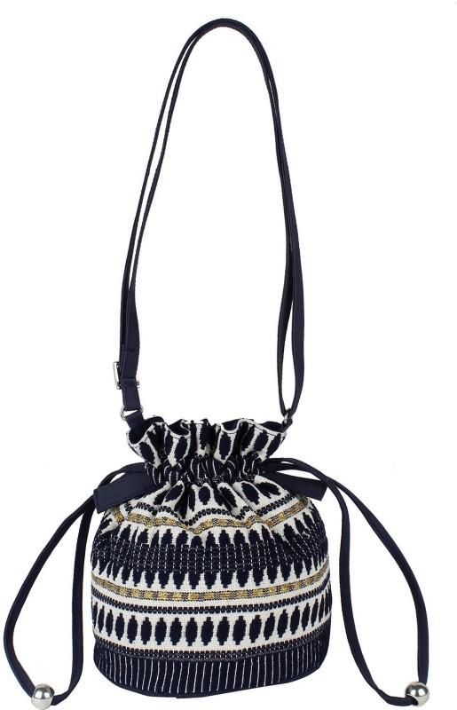 Tash Creations Sling Bag Potli(Blue)