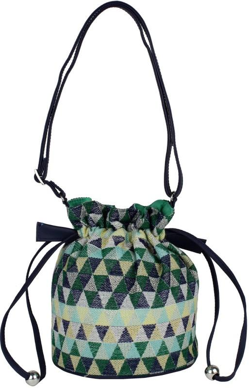 Tash Creations Sling Bag Potli(Green)