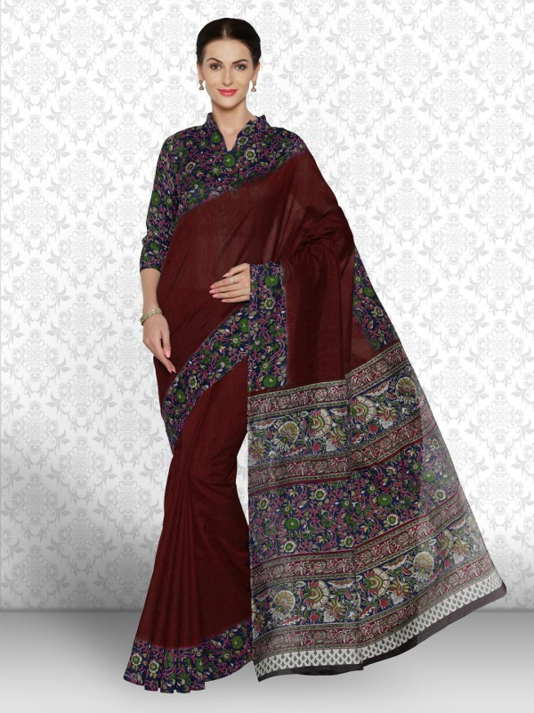 Divastri Printed Kalamkari Art Silk Saree(Maroon, Multicolor)