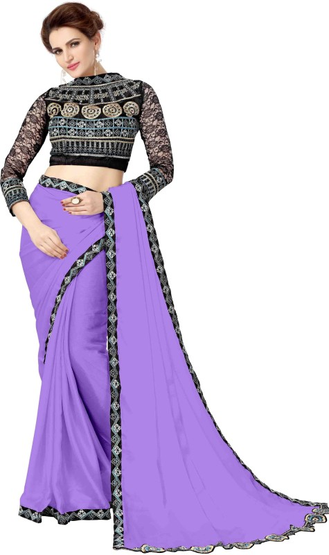 onlinefayda Embroidered Daily Wear Satin Saree(Purple)
